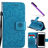 COTDINFOR Samsung Galaxy S5 Mini Custodia Cover Lucky Flowers Girl Elegante Portafoglio di Carte di Credito Magnetic Flip Custodia in Pelle Proteggi Cover per Samsung Galaxy S5 Mini Sunflower Blue KT