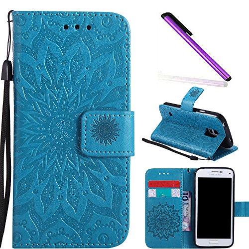 COTDINFOR Galaxy S5 Mini Funda Flores Cierre Magnético Billetera con Tapa para Tarjetas de Cárcasa Elegante Retro Suave PU Cuero Caso Case para Samsung Galaxy S5 Mini Sunflower Blue KT