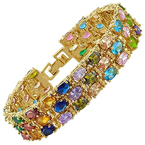 Modeschmuck 18K Gelbgold Vergoldet Mehrfarbig Atemberaubende Geschenk Armband