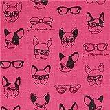 Tissu double gaze rose foncé avec des chiens et des lunettes par Kokka