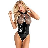 Body Femme Sexy Cuir Vernie Bodysuit Jumpsuit Sexy Transparent Bodycon Lingerie de Nuit Sado MASO Jeu de Rôle Cosplay…