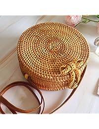 Style bohème fait à la main Vintage mode rotin tissé sac rond Bow sac de plage Sac de rangement sac tissé à la main, sac de paille, sac à main, sac à bandoulière, sac à main, Lady/Girl Messenger Bag