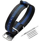 Acocho Cinturino per orologio, in tessuto di nylon di alta qualità, 18 mm, 20 mm, 22 mm, con fibbia in acciaio inox