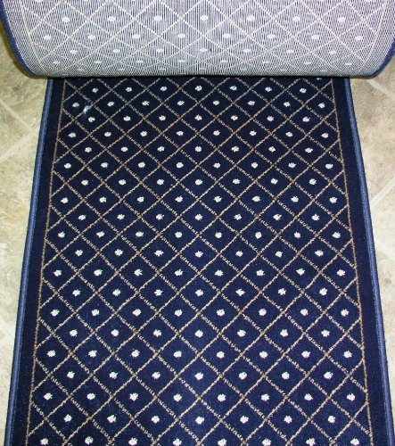 157619 - Rug Depot Royale 782 Navy Casual Trellis Hall and Stair Runner - 26' Wide Hallway Rug Runner - Navy Background - Carpet Runner Sold By the Foot