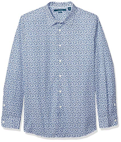 Perry Ellis Herren Slim Fit Floral Shirt Button Down Hemd, Cerulean/Dhw, Mittel - Dichte, Florale Muster