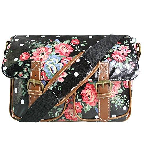 En toile ou en toile cirée Miss Lulu Motif fleur et Pois Sacoche avec bandoulière Noir - Black Oilcloth
