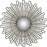 "Different Art Decorative Gold Finishing Round Iron Wall Mirror for Living Room (DAE2525_20"" X 1.5"" X 20"")"
