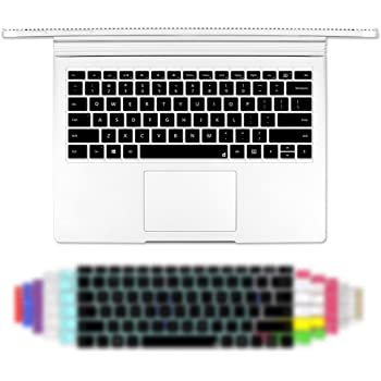Masino Silicone Keyboard Cover Thin Keyboard Skin for Microsoft Surface Book Silicon Keyboard Skin- Clear Silicon Keyboard Skin-Black