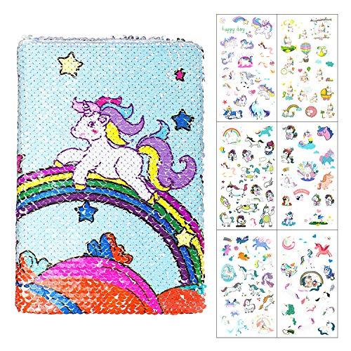 Joeyer Unicornio Lentejuelas Cuaderno A5 Lindo Pegatinas