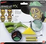Smiffys Déguisement, Kit de maquillage sorcière, avec peinture pour visage, nez, crayons et éponge, 37804