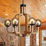 "Adjustable Industrial Matt Black Finish Rope Chandelier - LITFAD 30"" Retro Vintage Antique Pendant Light Ceiling Light With 6 Lights With Golden Glass"