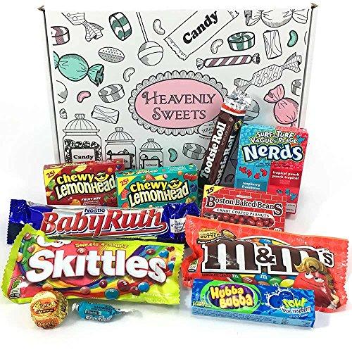 Mini caja de American Candy | Caja de caramelos y Chucherias Americanas | Surtido de 11 artículos incluido M&M's Skittles Nerds | Golosinas para Navidad Reyes o para regalo