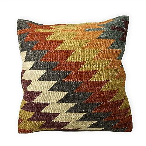 Alwar Kilim Housses de coussin fait main de fabrication à l'aide du Commerce Équitable 80/20laine/coton et teintures naturelles, Tissu, multicolore, 45 x 45