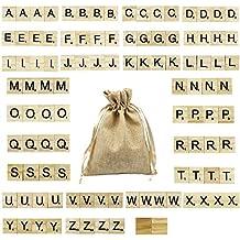 Goodlucky365 100Piezas Letras de Madera, Scrabble de Letras, Letras de Recambio Para Juego de Mesa, Manualidad, Puzzles, Bricolaje (4 Piezas de Cada Letra + 2 Piezas En Blanco)