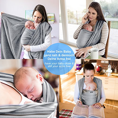 Hochwertiges Baby-Tragetuch – Hellgrau – Neugeborene bis 15 kg – Baumwolle-Sling - 3