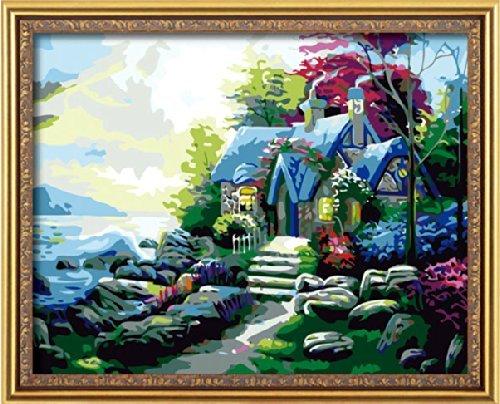 Bricolage numérique toile peinture à l'huile de décoration en nombre Kits Lever cabane 16 * 20 cm.