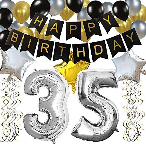 """KUNGYO Clásico Decoración de Cumpleaños -""""Happy Birthday"""" Bandera Negro;Número 35 Globo;Balloon de Látex&Estrella, Colgando Remolinos-Perfectas del Partido Para el Cumpleaños de 35 Años"""