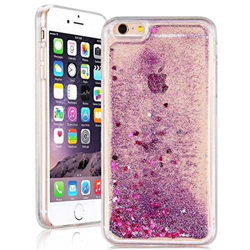 SMART LEGEND iPhone 7 Weiche Silikon Hülle Liquid Glitter Case Bumper Transparent Schutzhülle Fließen Flüssig Schwimmend Premium Shiny Glanz Sparkle Bling mit Rosa Herz Muster Handyhülle Crystal Kirst Lila