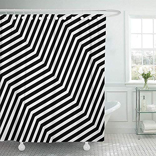 Sangeigt Doccia-Tende, Bath Curtain, Black Modern Stylish Geometric Tiles Volume Diagonal Zigzag Stock White Waterproof Shower Curtain Curtains Decorative Bathroom Odorless Eco Friendly