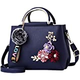 Tomepeia Women Leather Bag Handbag Ladies Shoulder Bag Tote Flowers Shell Rivets Fur Ball Pendant Luxury Designer
