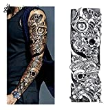 3 Sheet VOLLEN ARM TATTOO FAKE TATTOO Indianer Tribal Rosen Skull Länge 45cm Test