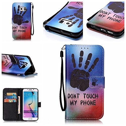 Samsung Galaxy S7 custodia a portafoglio [con protettore schermo gratuito], Mo-beauty ® Samsung Galaxy S7 Premium custodia a portafoglio, in pelle PU Full Body design stile design Flip magnetica stacc Dont touch my phone
