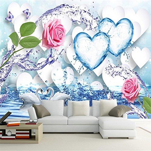 Kuamai Personalizado 3D Foto Wallpaper Salpicaduras De Agua Dulce Splash Rosa Hielo Corazón Romántico 3D Tv Fondo Pared No Tejida Wallpaper Mural-200X140Cm