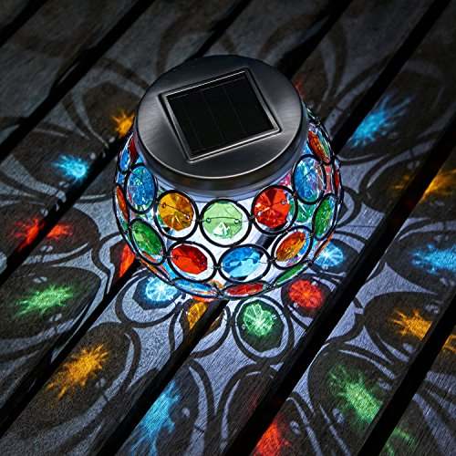 Auraglow Mosaic Solar Light Table Centerpiece LED Garden Alfresco Dining Lamp