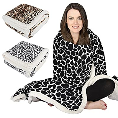 Animal Print Design Luxury Fleece Blanket Soft Sherpa Warm Home Sofa Bed Throw - inexpensive UK sofabed store.