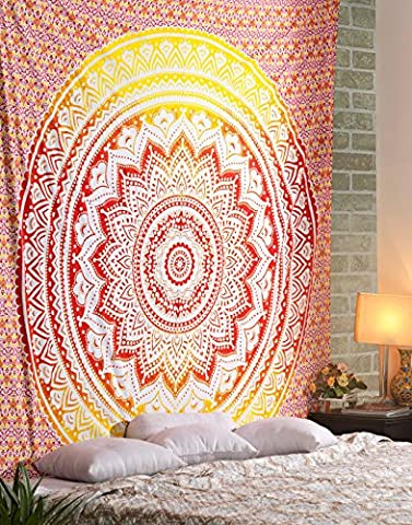 Ombe Tapisserie Indienne Rouge Jaune Déco mural Tapisserie Hippie Bohème Mandala Tenture Indienne Wall Tapestry By Rajrang