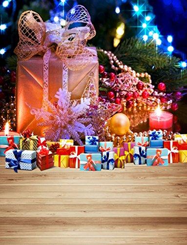 PHOTOGRAPHY Hintergrund Weihnachten Golden Geschenk-Box mit Schneeflocke Kerze Presents auf Holz Boden Festive Hintergrund für Foto Studio 5x 7ft