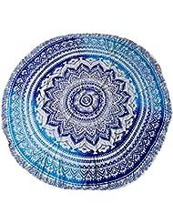 Toalla De Playa Hippy Decoración De Pared Tiro Estera De Yoga Colcha Tapicería De Algodón Redonda - Azul, 180 Colores
