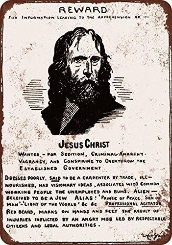 1917Gesù Cristo Wanted Poster stile vintage Riproduzione in metallo Segni