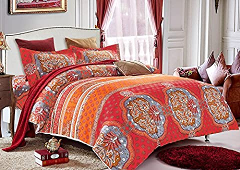 3 Piece Duvet Cover Pillow Cases Bedding Set, Cotton Polyester Blend Bohemian Design (King Size)