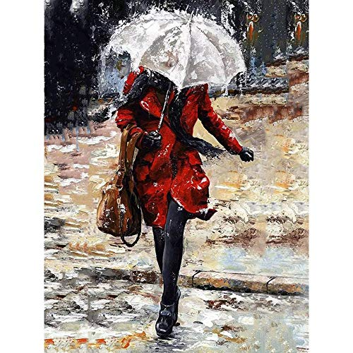 Pintura Digital Para Adultos Paraguas Bajo La Lluvia