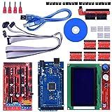 Longruner Juego de controladores para impresora 3D Mega 2560 R3 Ramps de 1,4, 5 controladores de motor paso a paso con disipador de calor A4988 controlador de pantalla fica inteligente LCD LK17