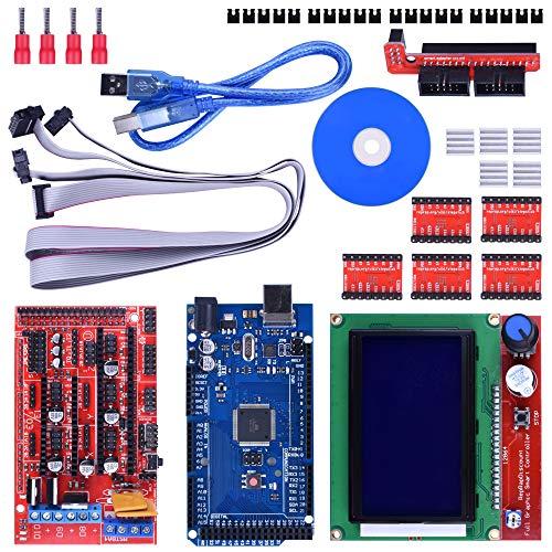 Longruner Juego de Controladores para Impresora 3D Mega 2560 R3, Ramps de 1,4, 5 Controladores de Motor Paso a Paso con Disipador de Calor A4988,para Arduino Reprap LK17