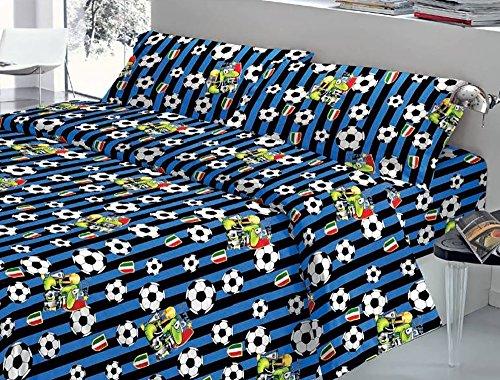 La bottega del risparmio completo lenzuola letto matrimoniale cotone squadre di calcio juventus milan inter (inter)