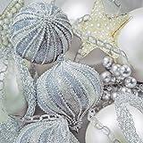 Decorline -20 Tovaglioli Carta Natale ' Frosted Baubles' - 33x33 cm- 3 strati