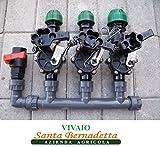 collettore irrigazione 3 zone 3 elettrovalvole 24v con portagomma compressione da 32 mm per impianti di irrigazione giardino giardini automatici