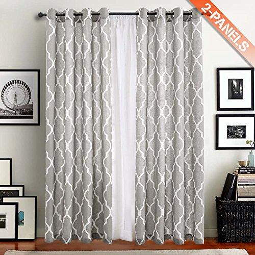 bedruckt Marokko Vorhang mit Ösen 2 stück Vorhänge Gardinen für Fenster Dekoration 127 x 241 cm ( B x H ) Grau (Dekoration Mit Gardinen)