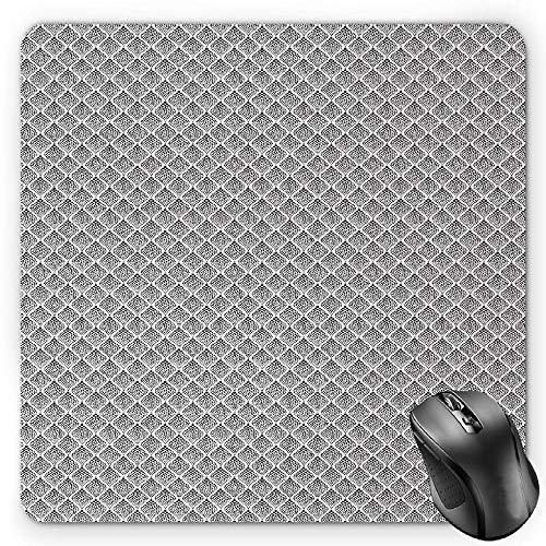 Black and White Mouse Pad, Monochrome Dotted Pattern with Abstract Composition Geometric Arrangement Gaming Mousepad Office Mouse Mat Black White