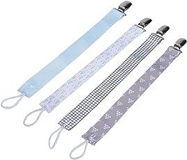 4Pcs Schnullerketten Schnuller Clip Schnullerband Baumwolle Band für Baby Neugeboren Baby Shower Geschenk