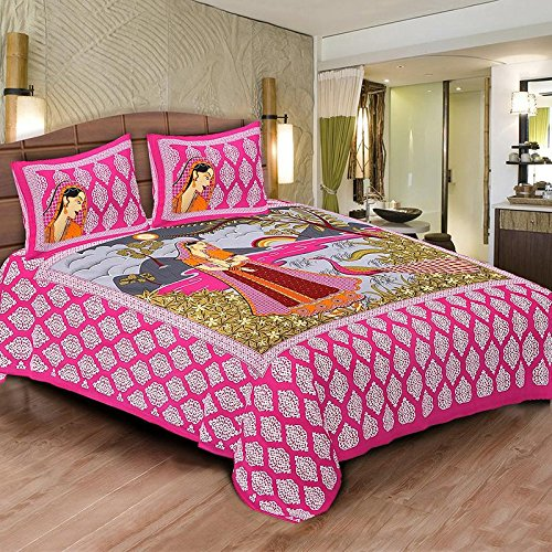 Jaipur-Prints-100-Cotton-Rajasthani-Tradition-King-Size-Double-Bedsheet-with-2-Pillow-Cover