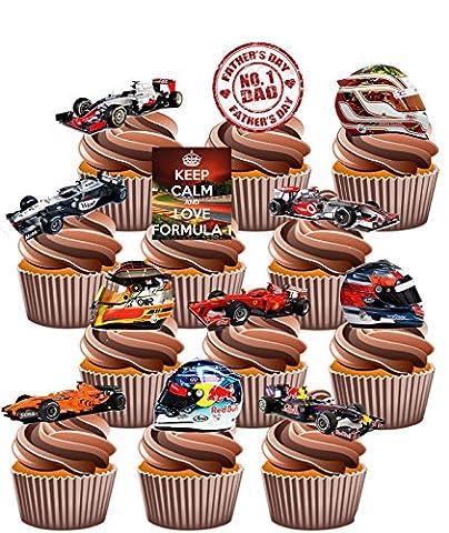 Père de Jour Formule Un Thème gâteau décorations–Col Montant Tasse comestible gâteau décorations (Lot de 12)