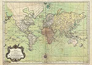 Bellin Carte du monde–Nautique Tableau 1778–poster vintage canvas it A4–21x 29,7cm