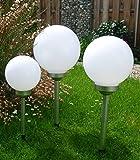 Solar LED Kugelleuchten 3 Stück im Set 30, 25 u. 20cm Gartenkugel Leuchtkugel Kugellampe Kugel Garten