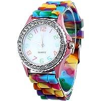 TOOGOO Women Silicone Crystal Bling Analog Digital Quartz Wrist Watch Color:Pink