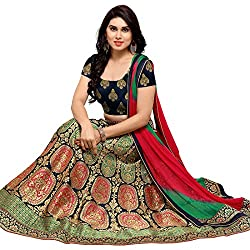 Styles closet women Traditional Navy Blue Jacquard Banarasi Lehenga Choli