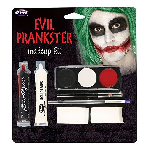 Halloween Evil Prankster/Joker Make Up Kit with Latex, Blood, Makeup & (Halloween Make Up Kits)